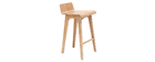Chaise de bar scandinave bois naturel 65 cm BALTIK