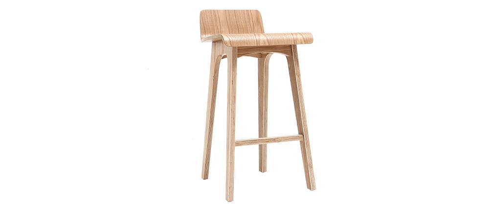 Chaise de bar scandinave bois naturel H65 cm BALTIK