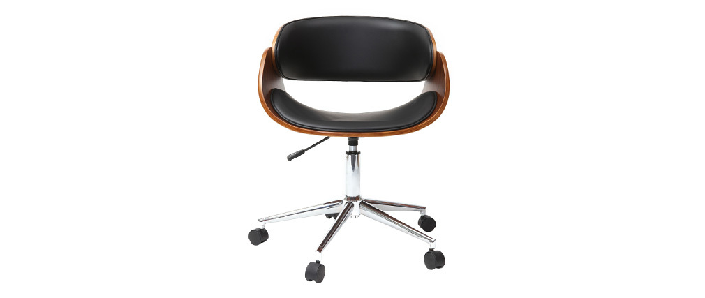 Chaise de bureau à roulettes noir et noyer BENT