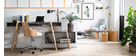Chaise de bureau design blanche et bois clair MAYOL