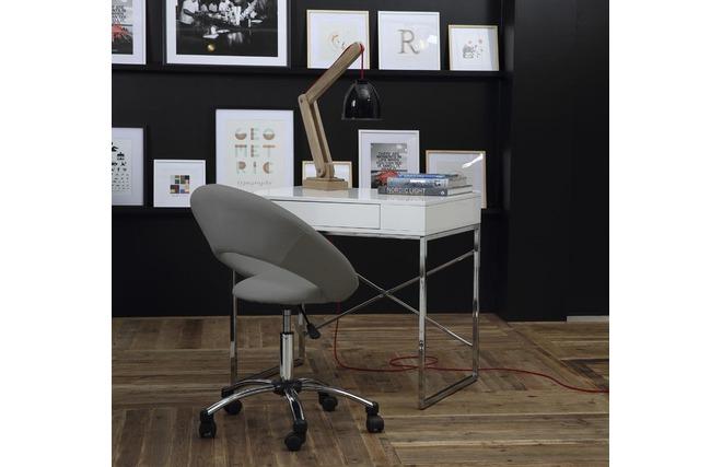 Chaise De Bureau Design Grise Roulette Pinto Miliboo