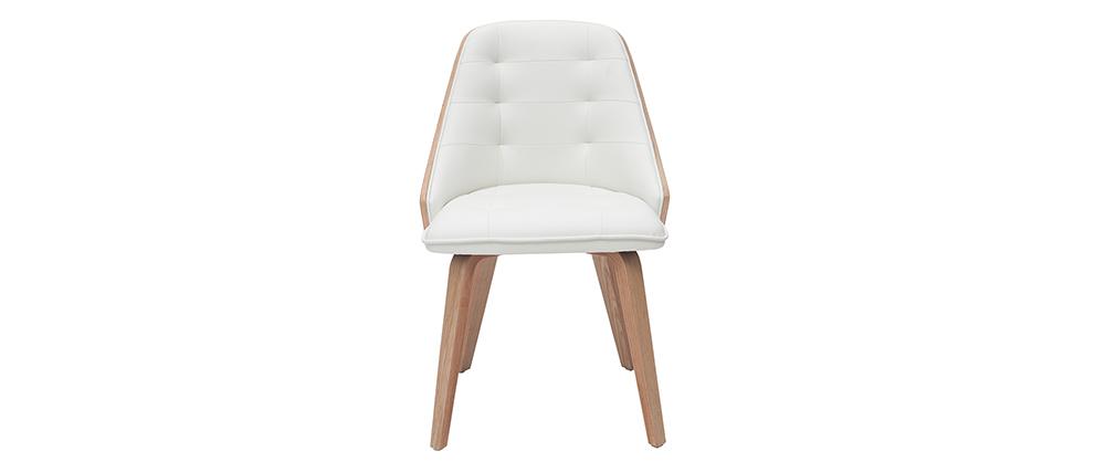 Chaise design bimatière blanc et bois clair FLUFFY