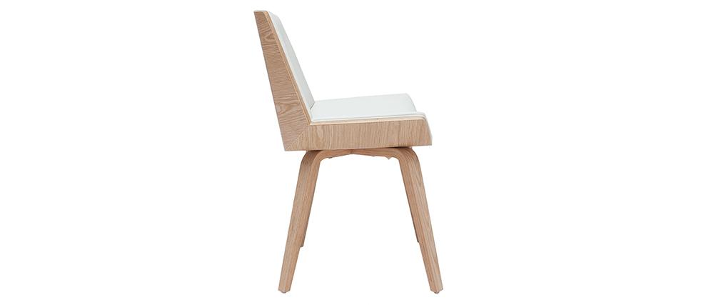 Chaise design blanc et bois clair MELKIOR