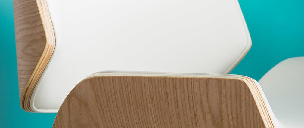 Chaise design blanc et bois clair RUBBENS