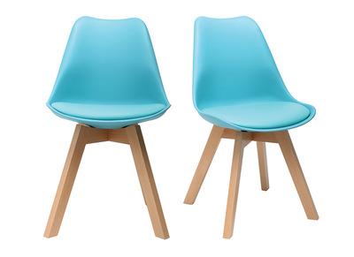Chaise design bleu et pieds bois lot de 2 PAULINE