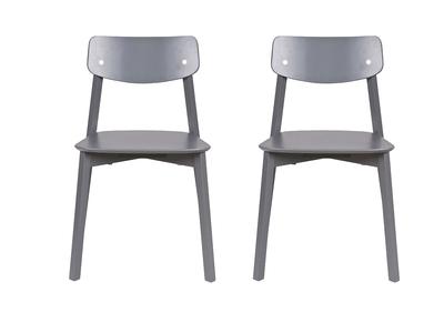 Chaise design bois gris anthracite lot de 2 JESS