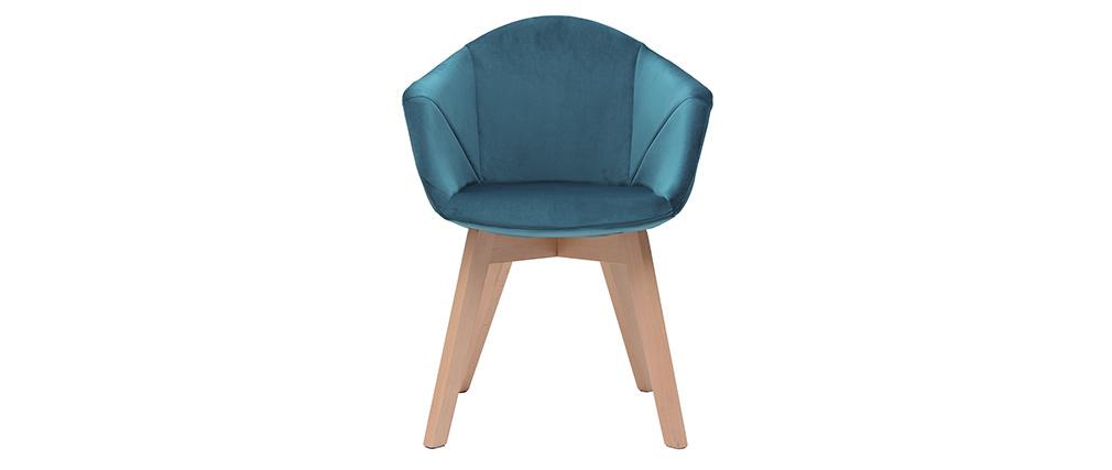 Chaise design en velours bleu pétrole TAYA