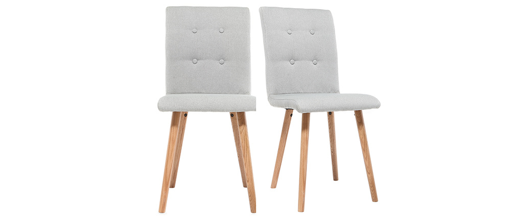 Chaise design gris clair et bois (lot de 2) HORTA