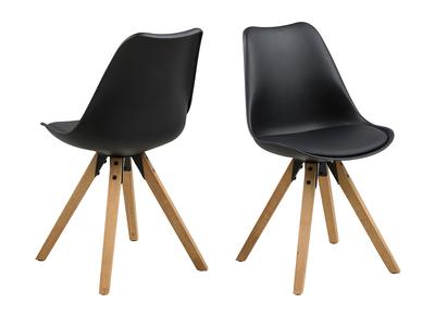 Chaise design noire et pieds bois clair lot de 2 NADJA