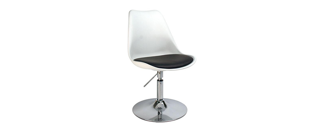 Chaise design pivotante blanche avec assise noire STEEVY