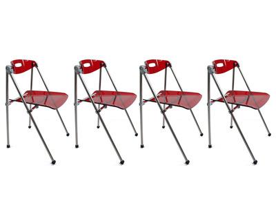Chaise design plexiglas rouge pliante JULIE (lot de 4)