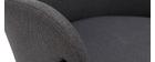 Chaise design tissu gris et métal noir TULUM