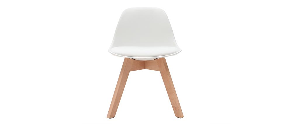 Chaise enfant blanche avec pieds bois BABY PAULINE