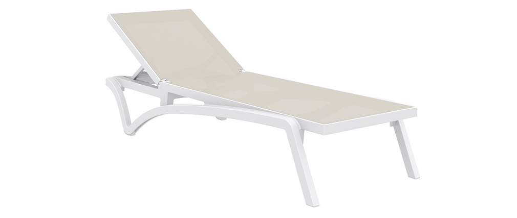 Chaise longue empilable blanc et taupe CORAIL
