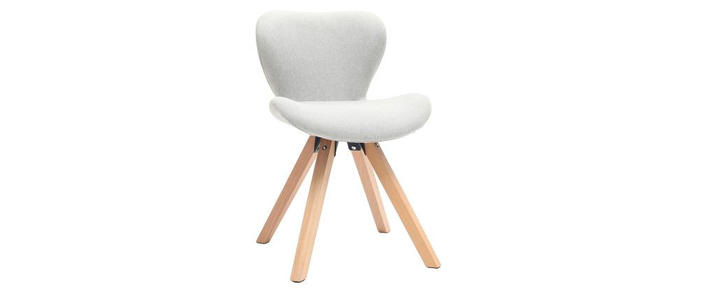 Chaise scandinave tissu gris et bois clair ANYA