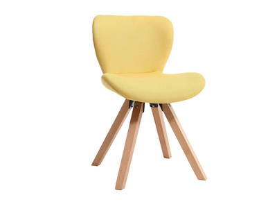 Chaise scandinave tissu jaune pieds bois clair ANYA