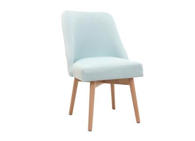 Chaise scandinave tissu vert d'eau pieds bois clair LIV
