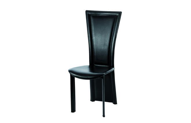 Chaises de cuisine salle manger noir en cuir recycl for Chaise cuisine en cuir