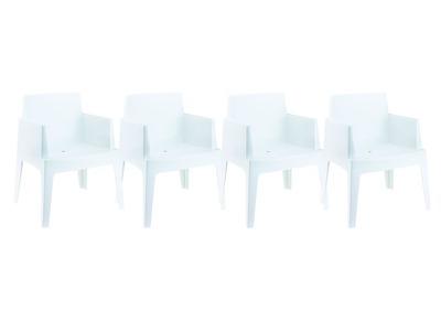 Chaises de jardin design blanc Lot de 4 LALI