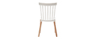 Chaises design bicolores blanc et bois (lot de 2) GAMBO