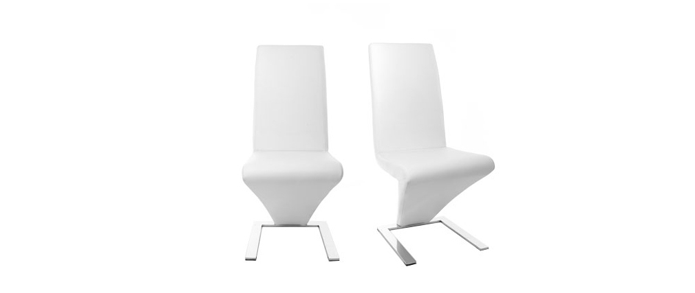 Chaises design blanc (lot de 2) NEW ANGIE