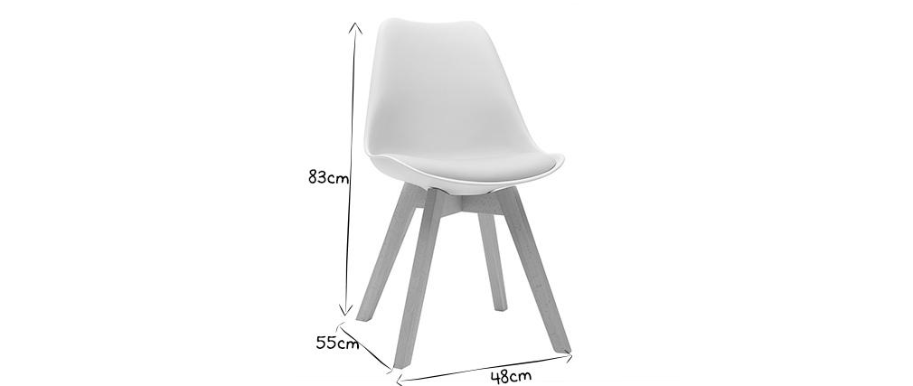 Chaises design blanches avec pieds bois (lot de 2) PAULINE