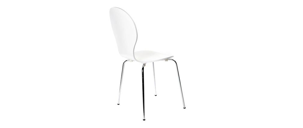 Chaises design empilables blanches (lot de 2) NEW ABIGAIL