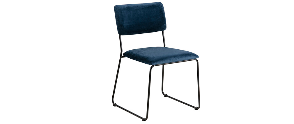 Chaises design en velours bleu nuit et métal (lot de 2) FLORE