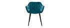 Chaises design en velours bleu pétrole et pieds métal noir (lot de 2) BURTON