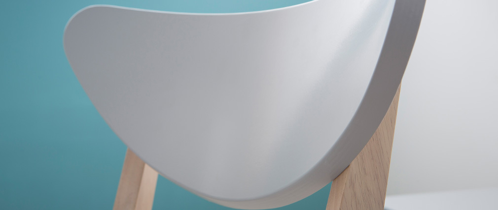 Chaises design gris pieds bois (lot de 2) LEENA