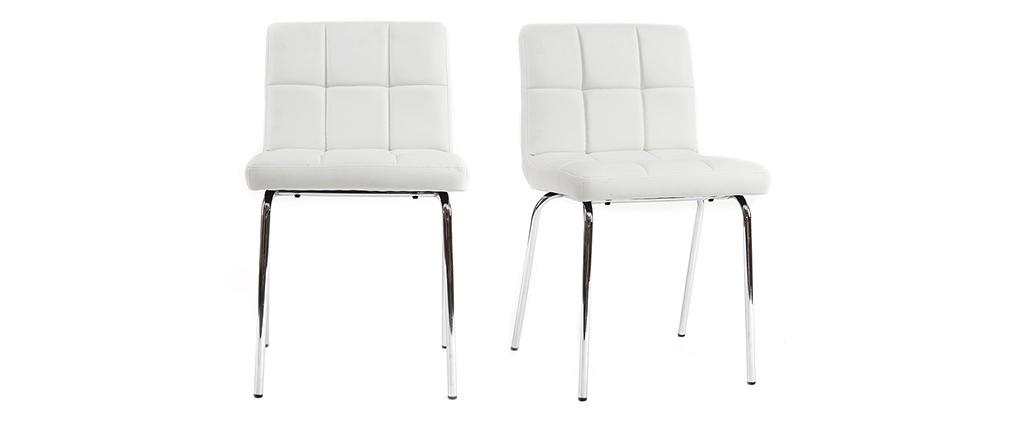 Chaises design molletonnées blanches (lot de 2) POLLY