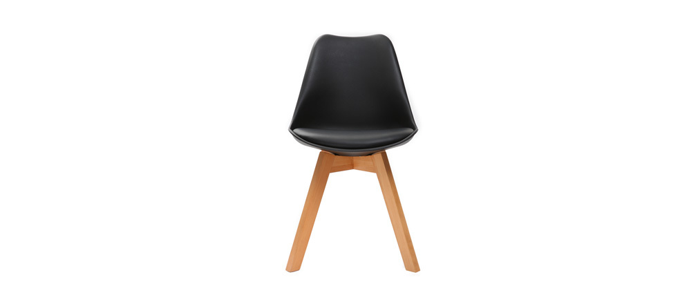 Chaises design noires avec pieds bois clair (lot de 2) PAULINE