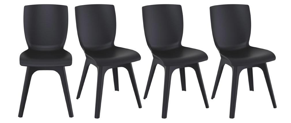 Chaises design noires intérieur / extérieur (lot de 4) SWAN