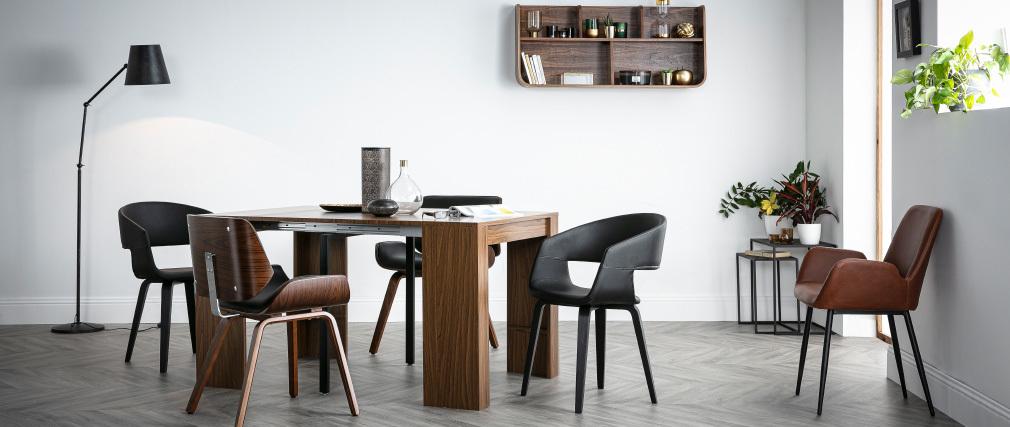 Chaises design noires pieds bois (lot de 2) SLAM
