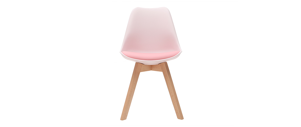 Chaises design rose avec pieds bois clair (lot de 2) PAULINE