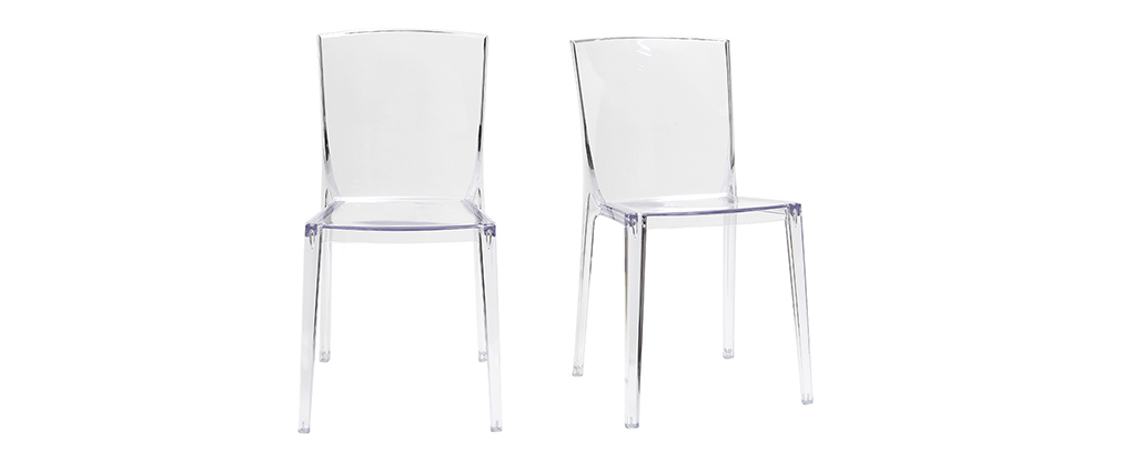 Chaises design transparentes empilables (lot de 2) ISLAND