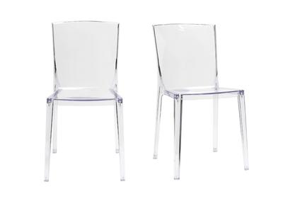 Chaises design transparentes lot de 2 ISLAND