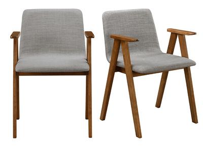 Chaises design vintage noyer et tissu gris lot de 2 DANA
