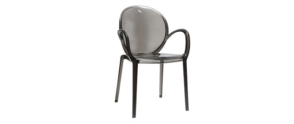 Chaises empilables design fumée transparentes (lot de 2) CRISTAL