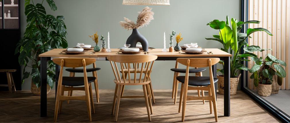 Chaises scandinaves bois clair et noir (lot de 2) WALFORD