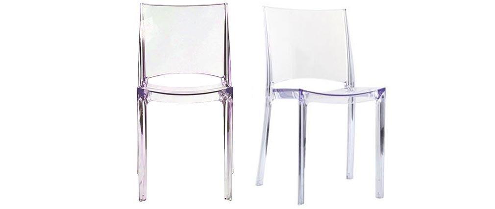 Chaises transparentes empilables design (lot de 2) KALYA