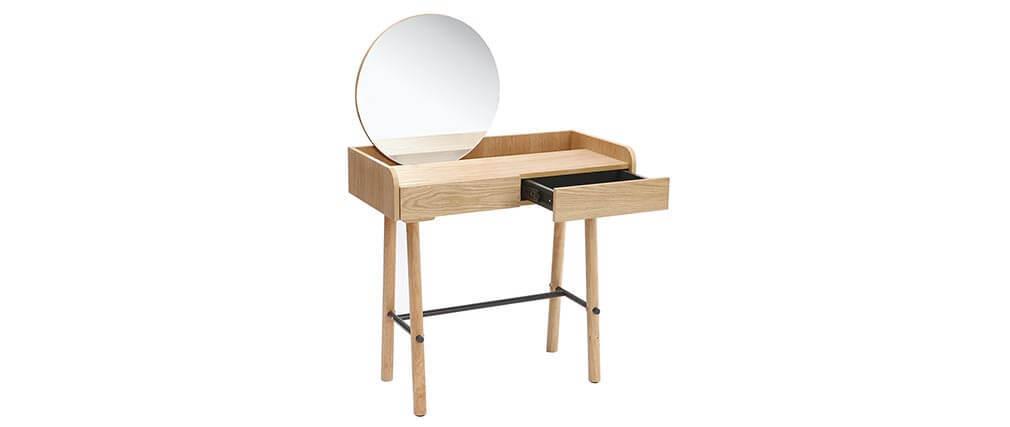 Coiffeuse scandinave avec miroir chêne clair JAPANSK