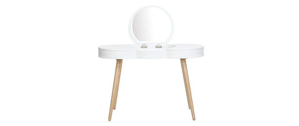 Coiffeuse scandinave bois blanc miroir rond NUBE