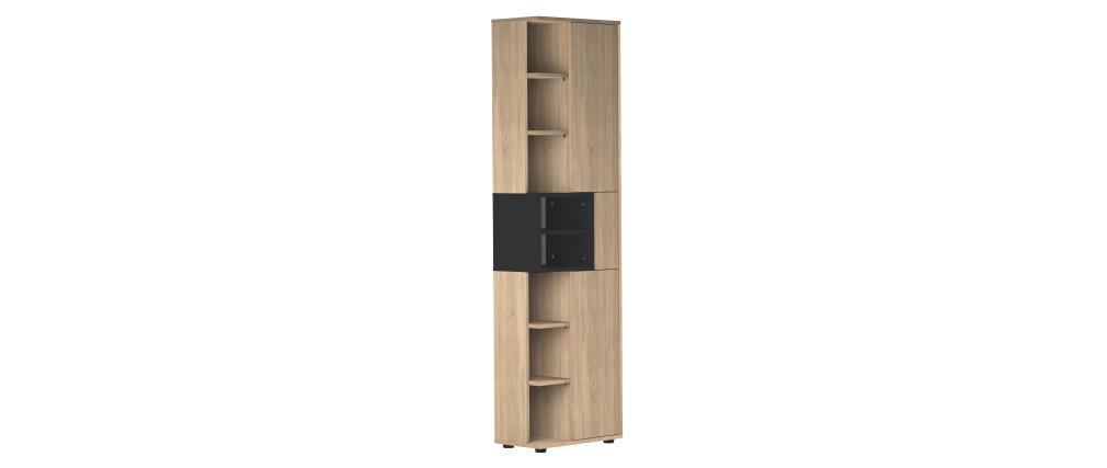 Colonne de rangement design noir et bois STELE