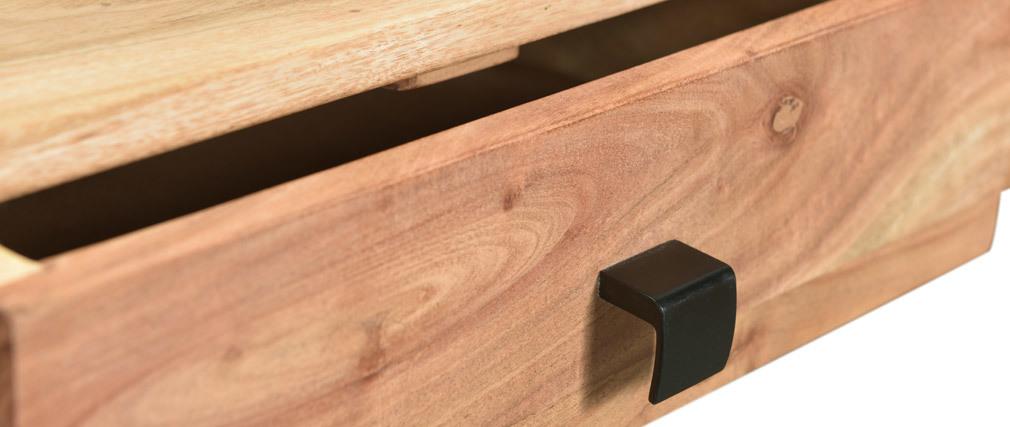 Console 2 tiroirs en acacia massif et métal L80 cm GRENELLE