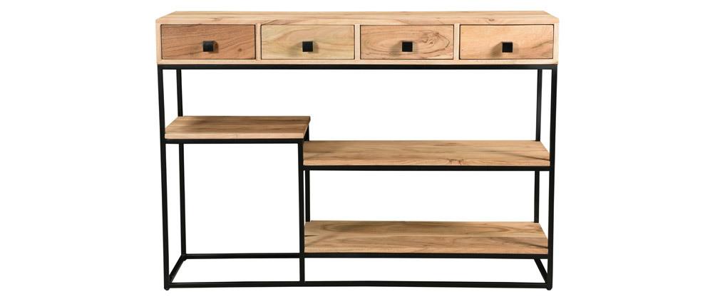 Console 4 tiroirs en acacia et métal noir L115 cm GRENELLE