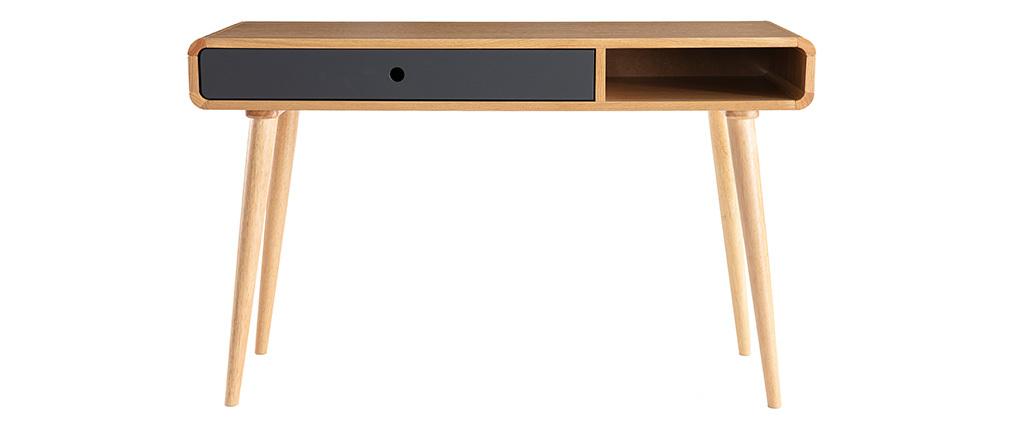Console-bureau scandinave chêne clair et gris L120 cm COPENHAGUE