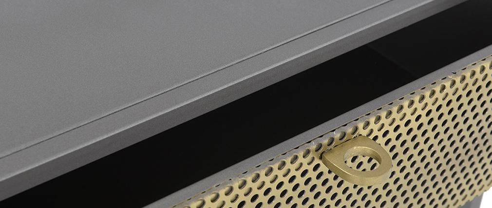 Console industrielle en métal doré et gris MAGIC