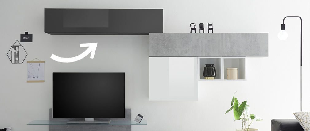 Élément mural TV horizontal laqué gris brillant ETERNEL