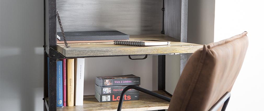 Étagère industrielle en bois massif et métal ATELIER